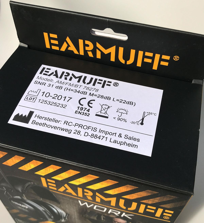 "DS-Alert dynamischer 31dB BLUETOOTH FM Radio /""EARMUFF/"" Kapselgehörschutz"