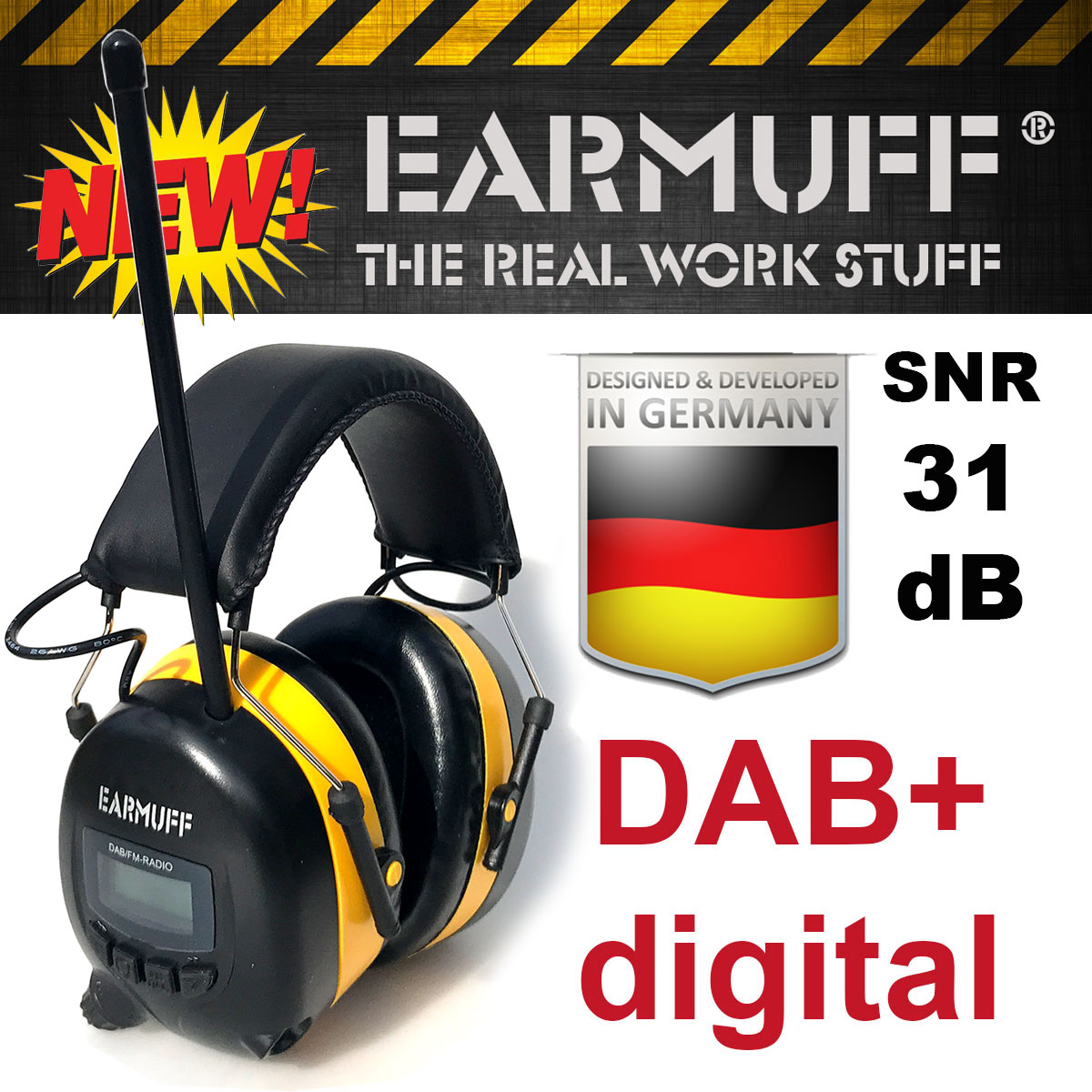 original 31db earmuff geh rschutz dab digital radio mit lithium akku ebay. Black Bedroom Furniture Sets. Home Design Ideas